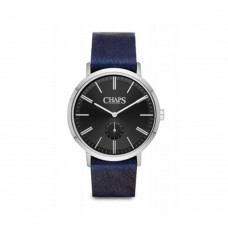 Chaps Dunham Blue Leather and Stainless Steel Three Hand Watch